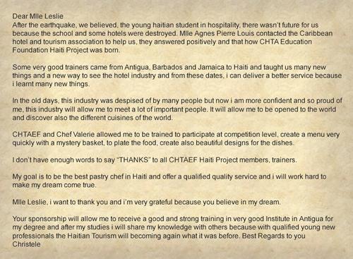 Christele's Letter of Thanks